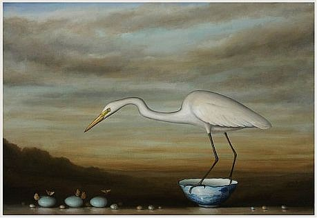 DAVID KROLL, EGRET AND EGGS oil on linen