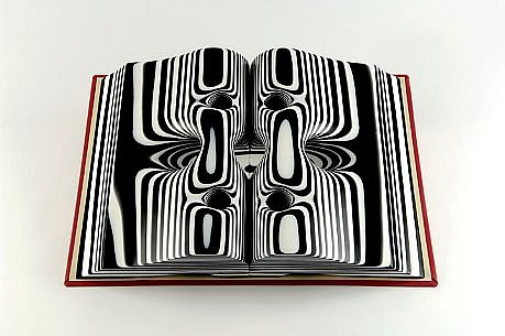 TERRY MAKER, BLACK AND WHITE STRIPED BOOK resin and mixed media
