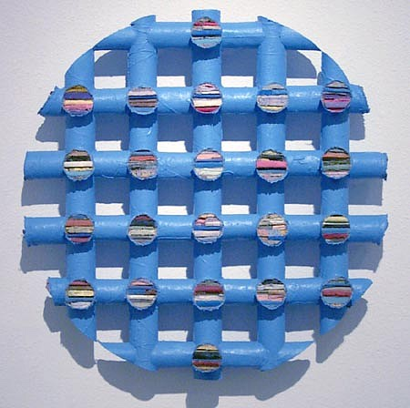 TERRY MAKER, OUT (Blue Round) acrylic, canvas, glue