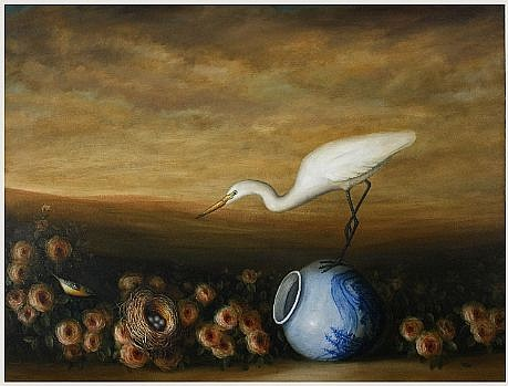 DAVID KROLL, NEST AND VASE oil on linen