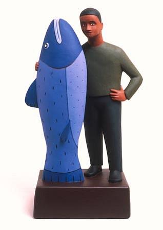 TOM NUSSBAUM, Fish / Man acrylic on resin