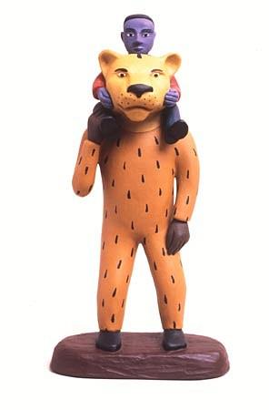 TOM NUSSBAUM, Tiger / Man / Boy acrylic on resin