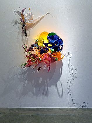 JUDY PFAFF, CRAZY FOR LOVE steel wire, plastics, shellacked Chinese paper lanterns, and flourescent light