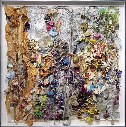 JUDY PFAFF, DE LAS FLORES dyed and folded Japanese papers, print matter, artificial flowers, gourds, coffee filters