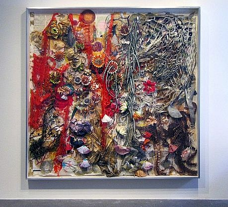 JUDY PFAFF, ROSIE'S BED cut, burned and perforated bond and Crown Kozo paper, joss paper,sheet music, silk and paper flowers, honeycomb, packaging materials, wire, fishing line, coffee filters