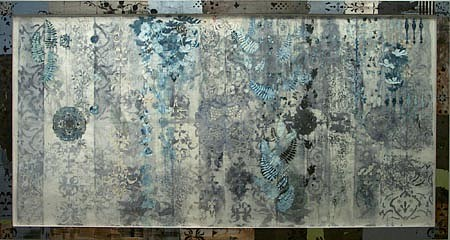 JUDY PFAFF, Saidee Brown watercolor, oilstick, doilies on Japanese paper