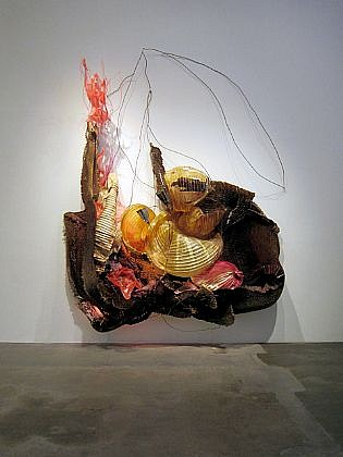 JUDY PFAFF, THE MONKEY AND THE CROCODILE honeycomb, cardboard, expanded foam, shellacked Chinese paper lanterns, steel wires, plastics, and fluorescent light