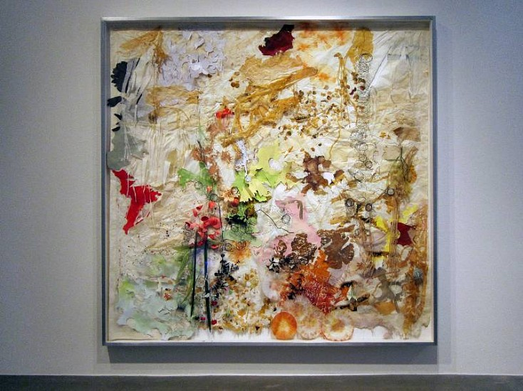 JUDY PFAFF, THE THING WITH FEATHERS burnt, folded and perforated Crown Kozo paper, ink, dyed coffee filters, found images, silk flowers, binding wire and pressed fauna