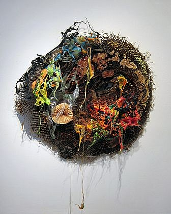 JUDY PFAFF, TIME IS ANOTHER RIVER honeycomb, cardboard, expanded foam, plastics, and fluorescent light