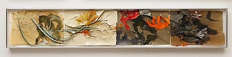 JUDY PFAFF, VEGETATION OF TANGLED SHRUBS AND THORNY BUSHES cut and dyed file folders with artificial flowers