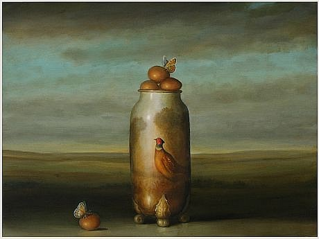 DAVID KROLL, PHEASANT VASE oil on panel
