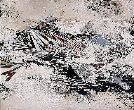 REED DANZIGER, THE EXPANDED COMPLEXIFICATION oil, pencil, pigment, shellac on paper on panel