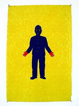 TOM NUSSBAUM, RED HANDS hand-cut Yatsuo paper with vegetable dye and mixed media