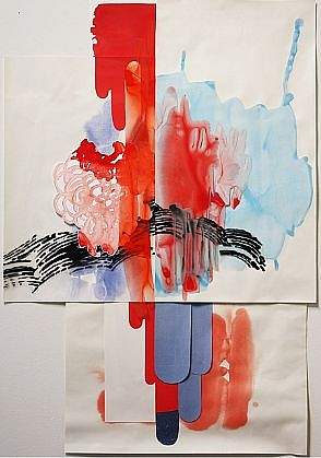 KATY STONE, RUNNING COLORS (PATRIOT FALL) acrylic on Duralar and paper collage