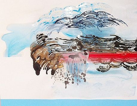 KATY STONE, CRUMB STORM 3 acrylic on Duralar and paper collage