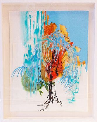 KATY STONE, POURING TREE 3 acrylic on Duralar and paper collage