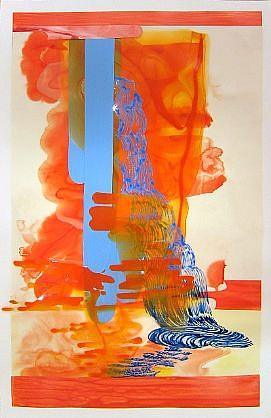 KATY STONE, FROND FALLS ORANGE 2 acrylic on Duralar and paper collage
