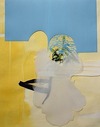 KATY STONE, POOL GENIE acrylic on Duralar and paper collage
