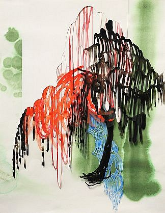 KATY STONE, POURING TREE 2 acrylic on Duralar and paper collage