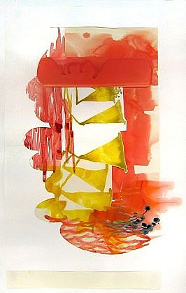 KATY STONE, TRUMPET (RED SOUND) acrylic on Duralar and paper collage