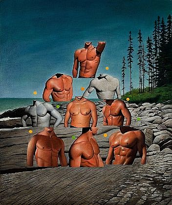 JEFF STARR, TOWER OF TORSOS oil on linen