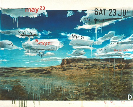 JACK BALAS, TUESDAYS (SOME) framed oil on paper w/ inlaid digital text