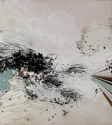 REED DANZIGER, UNTITLED 1108A oil, graphite, pigment, shellac on paper on wood