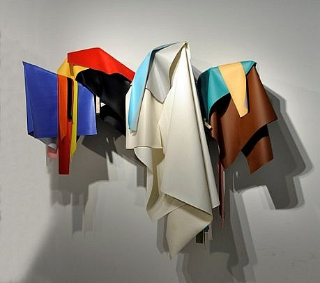 DERRICK VELASQUEZ, UNTITLED (DRAPED STRUCTURE) vinyl and maple