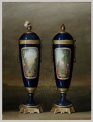 DAVID KROLL, TWO BLUE VASES oil on linen