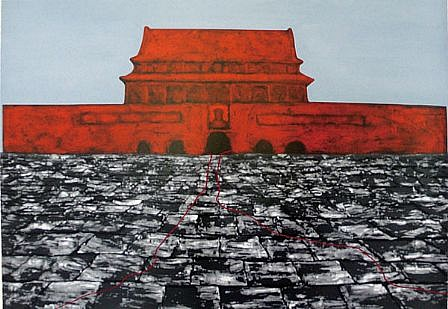 ZHANG XIAOGANG, TIANANMEN SUITE OF SEVEN (ORANGE, RED, YELLOW, GREEN, BLUE, GRAY, MAGENTA) 5/68 silkscreen