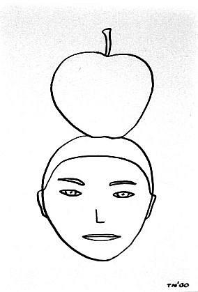 TOM NUSSBAUM, APPLE HEAD india ink on paper