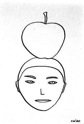 TOM NUSSBAUM, APPLE HEAD india ink on paper