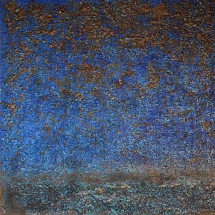"SAMI AL KARIM, ""BAGHDAD TODAY"" BLUE handmade paper, silica, copper, iron mineral pigments, resin, gel medium"