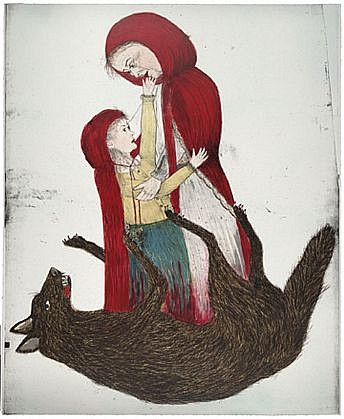KIKI SMITH, BORN 3/5 lithograph with hand additions