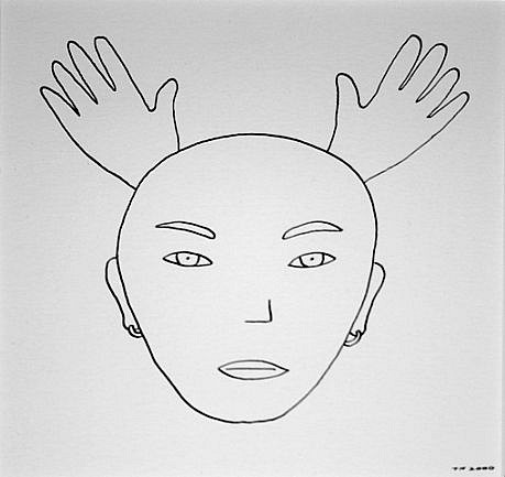 TOM NUSSBAUM, HEAD WITH TWO HANDS (LINDA) india ink on paper