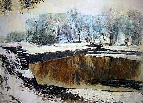 STEPHEN BATURA, hinterland casein, acrylic on panel