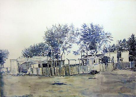 STEPHEN BATURA, neighborhood acrylic and casein on panel