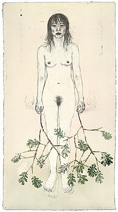 KIKI SMITH, UNTITLED K / 11 lithograph with hand coloring