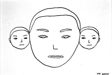 TOM NUSSBAUM, THREE HEADS (MALE) india ink on paper
