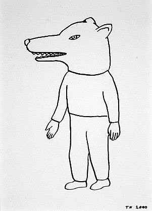 TOM NUSSBAUM, WOLF HEAD india ink on paper