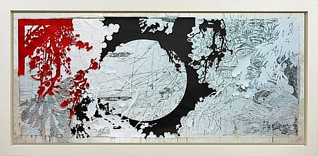 JUDY PFAFF, YEAR OF THE DOG #6 7/12 woodblock, collage with hand printing