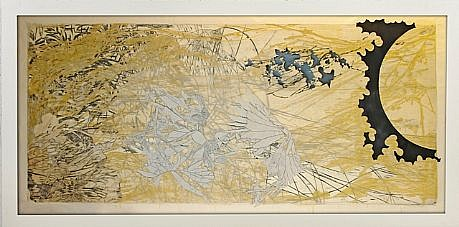 JUDY PFAFF, YEAR OF THE DOG #7 1/12 woodblock, collage with hand printing