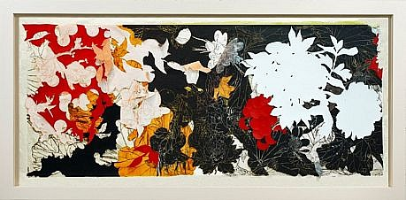 JUDY PFAFF, YEAR OF THE DOG #8 16/20 woodblock, collage with hand printing