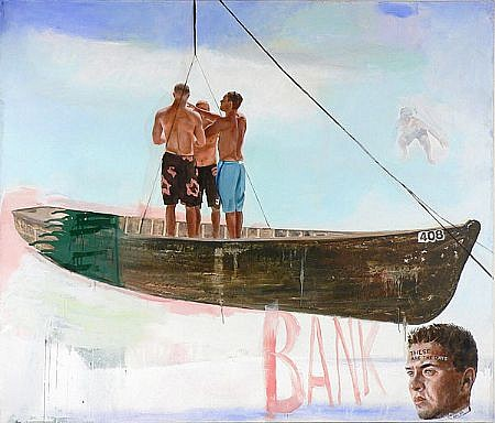 JACK BALAS, BANK oil on canvas over panel