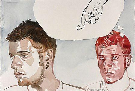 JACK BALAS, UNTITLED: CROSSED FINGERS watercolor