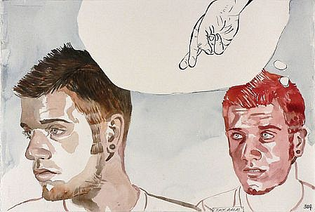 JACK BALAS, UNTITLED: CROSSED FINGERS watercolor