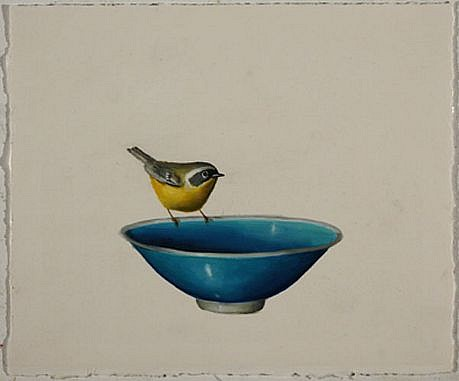 DAVID KROLL, UNTITLED (BLUE BOWL) oil on paper
