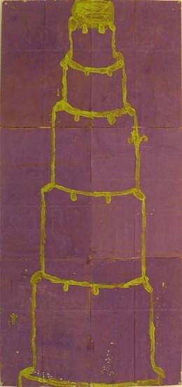 GARY KOMARIN, UNTITLED, CHARTRUESE ON PURPLE mixed media on paper