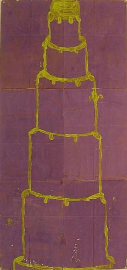 GARY KOMARIN, UNTITLED, CHARTRUESE ON PURPLE mixed media on paper