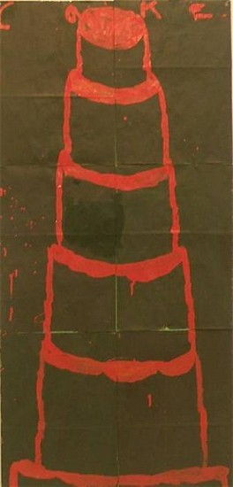 GARY KOMARIN, UNTITLED, RED ON BLACK mixed media on paper